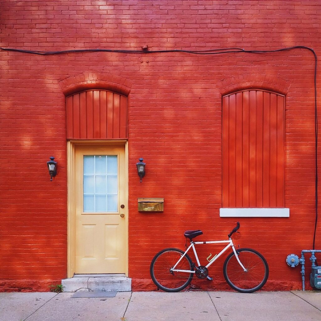 Red house with bicycle