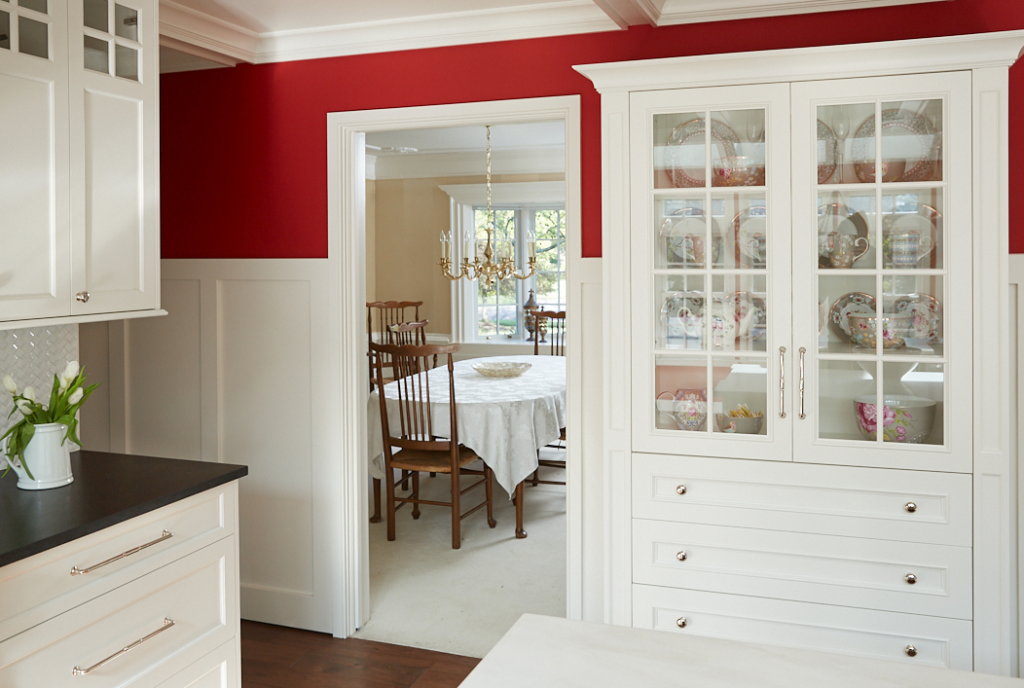 wainscoting in red kitchen. Vertical panels