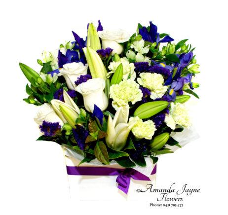 White Lillie blue flower box.