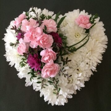Heart Funeral Tribute White and Pinks