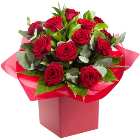 Red roses in a presentation box