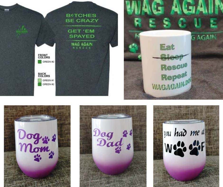 wag again rescue wine glasses, coffee mugs, tshirts