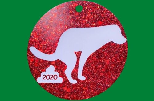 dog pooping ornament