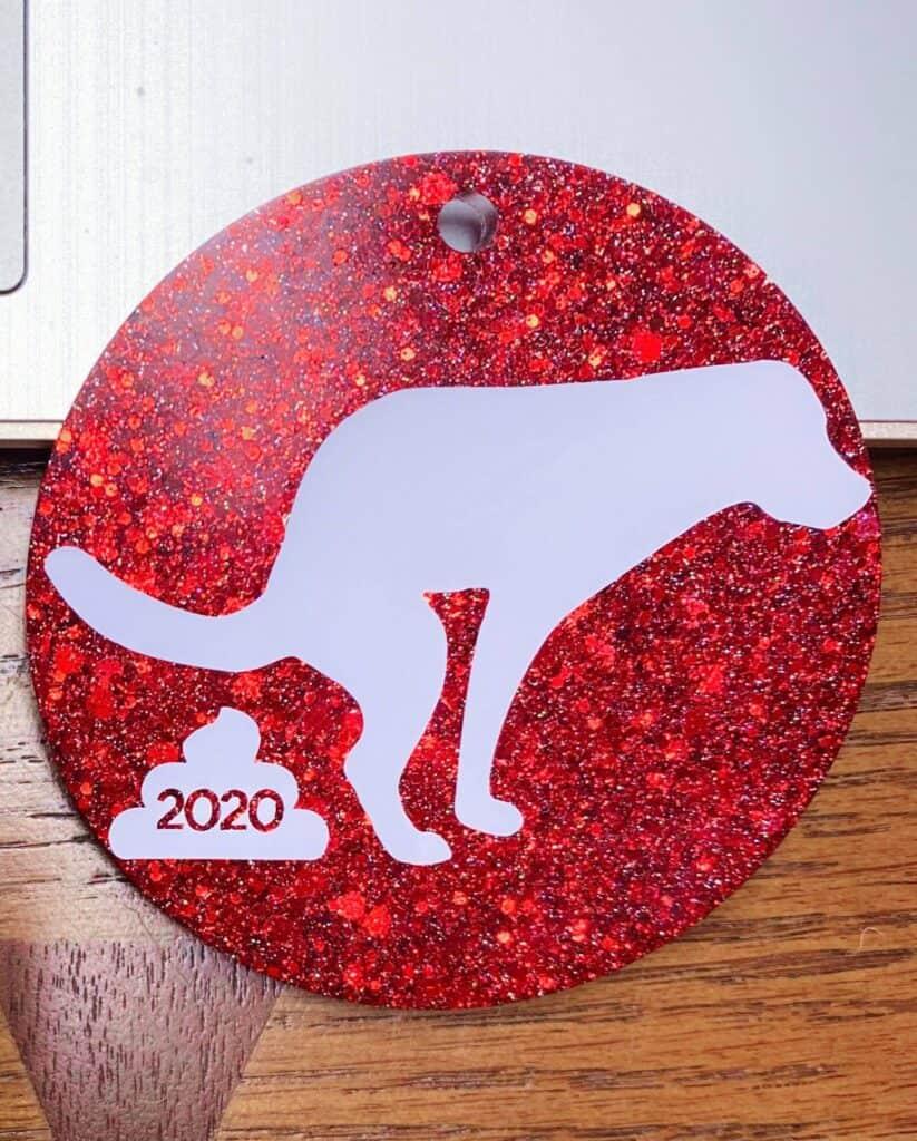 dog pooping 2020 christmas ornament