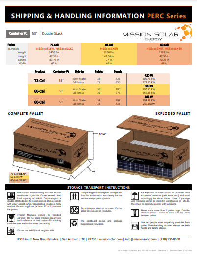 C-SA2-MKTG-0029 SHIPPING & HANDLING INFORMATION - M6 Series