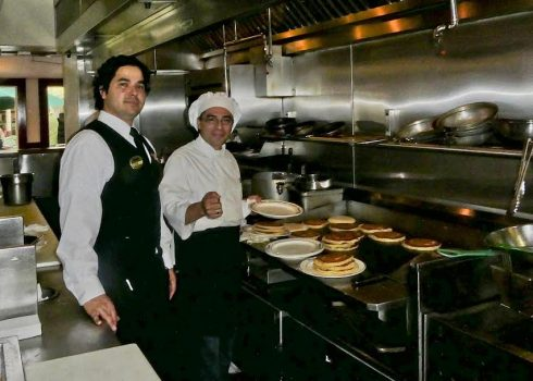 Du-par's -Jim and Caesar guarding the pancakes