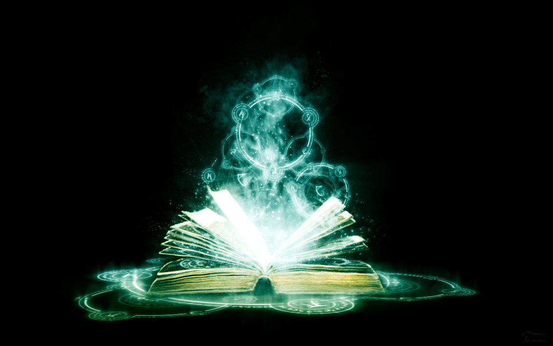 Image of a glowing magical book