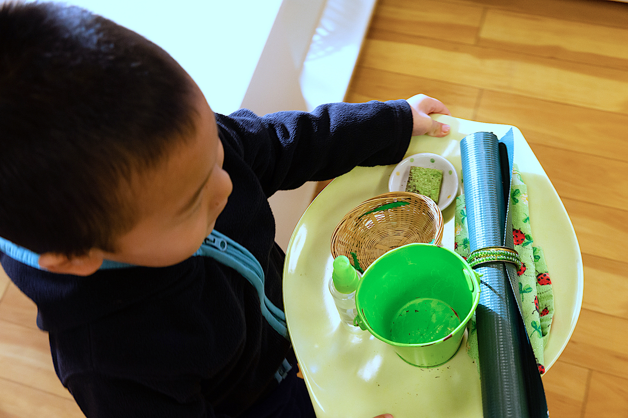 Toddler Boy carrying his plate setting