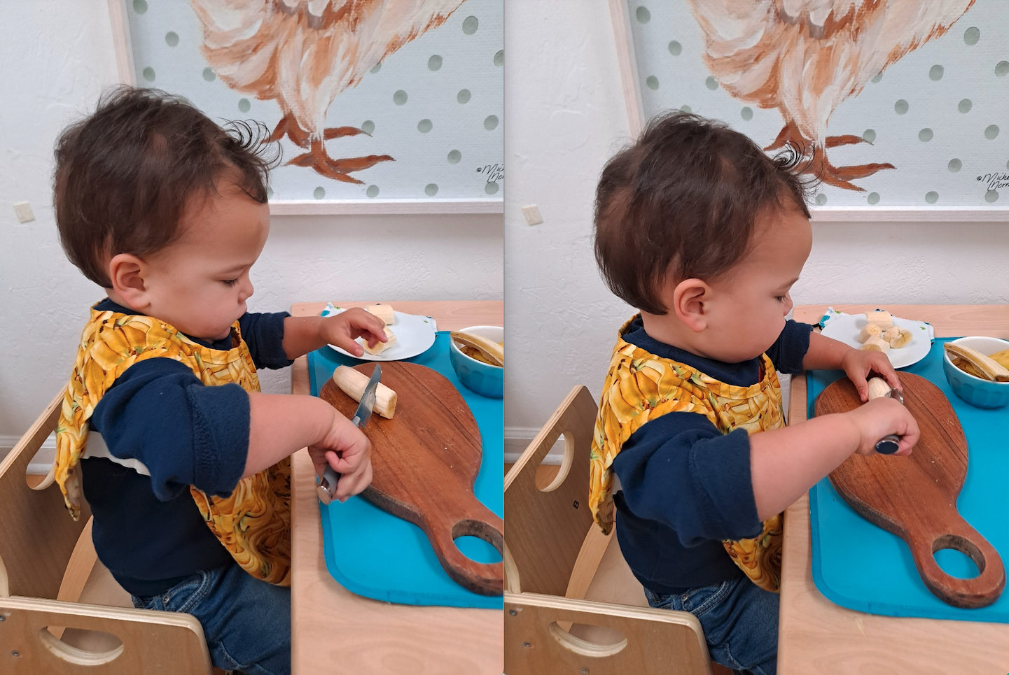 Toddler Cutting a Banana Independently at La Jolla Montessori School