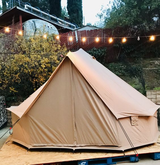 glamping tent bell tent camping outdoors lights platform