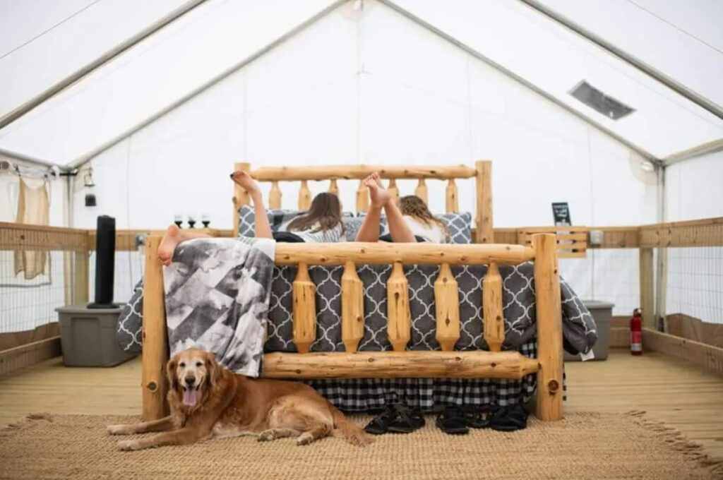 2 girls and a dog in a glamping tent