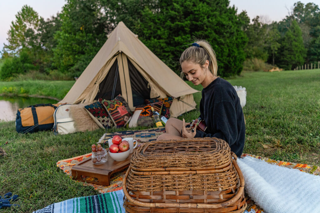 glamping tent girl outdoors glamping canvas tent basket