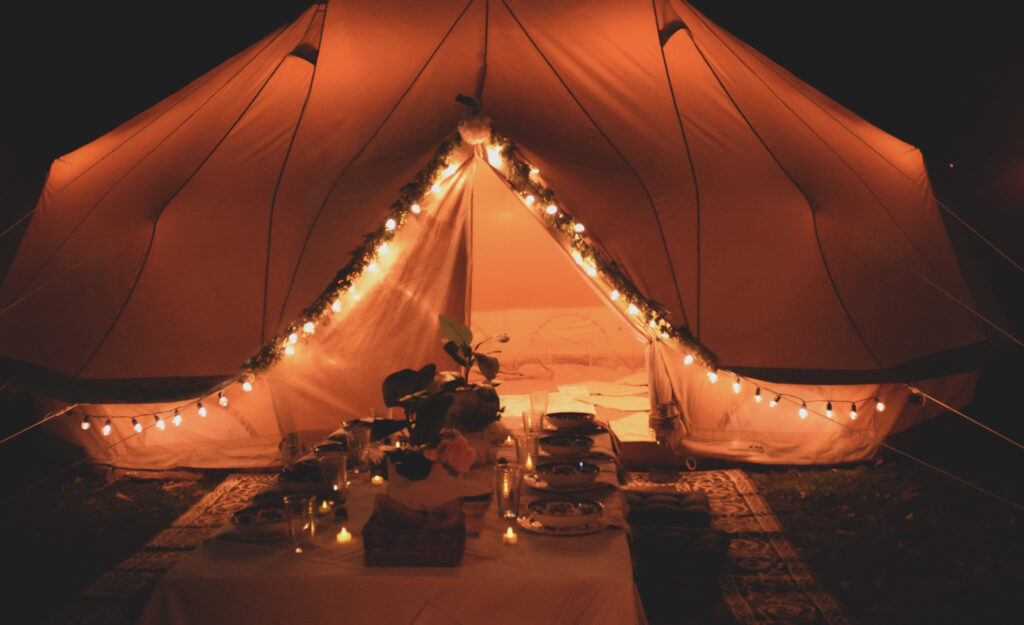 glamping tent outdoors camping glamping canvas tent lights