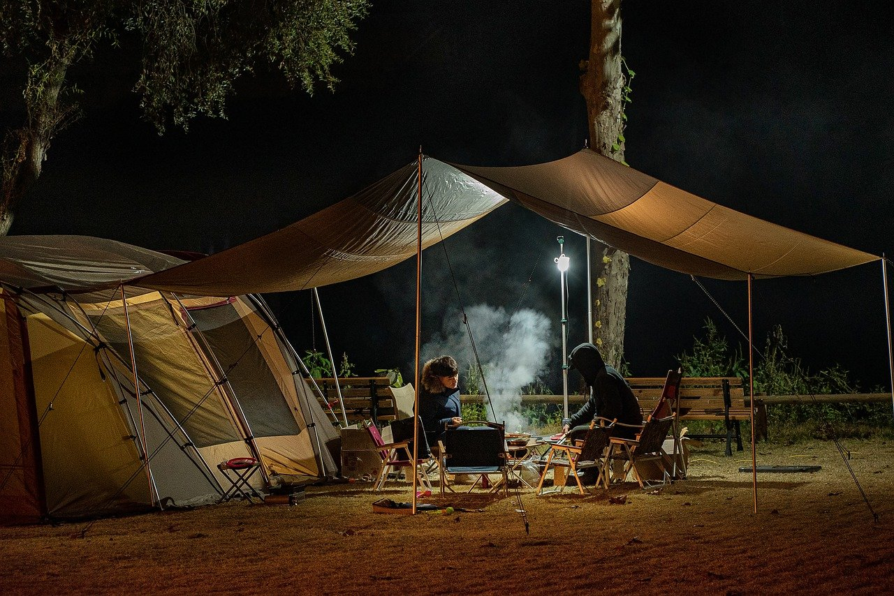 people, camping, tent