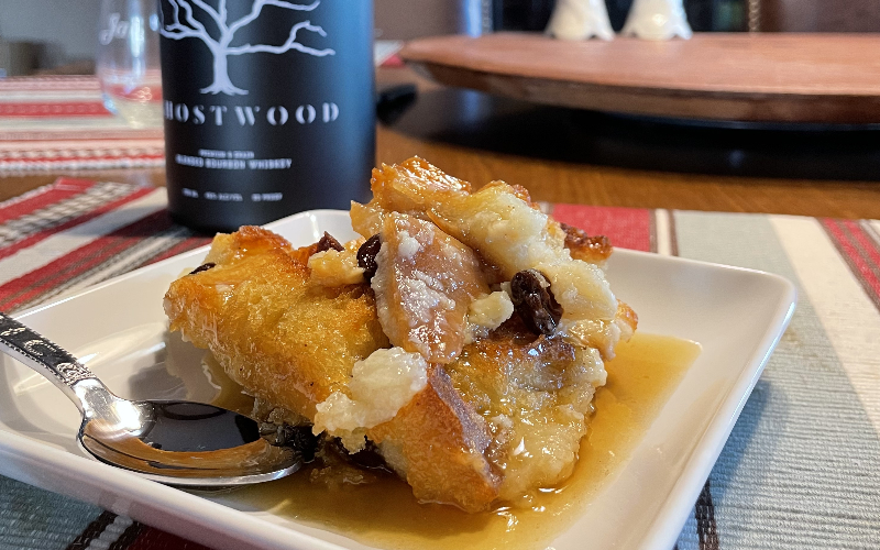 GHOSTWOOD bread pudding with GHOSTWOOD sauce