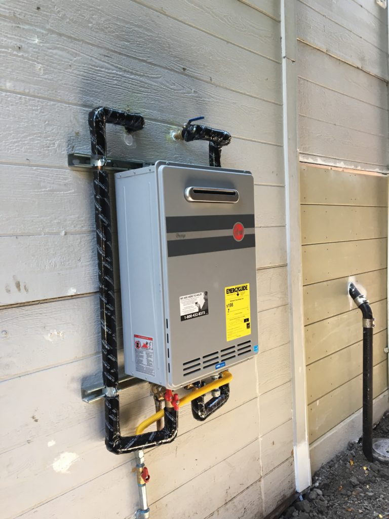 New high efficiency outdoor tankless system - no more leaks, no more waste; and ENDLESS HOT WATER when a quick shower just won't do!
