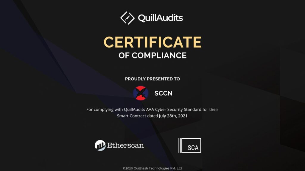 SCCN Token Receives Certificate of Compliance