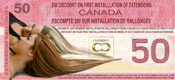 $50 Discount Coupon on on your first hot fusion extensions installation at The Hair Clinic