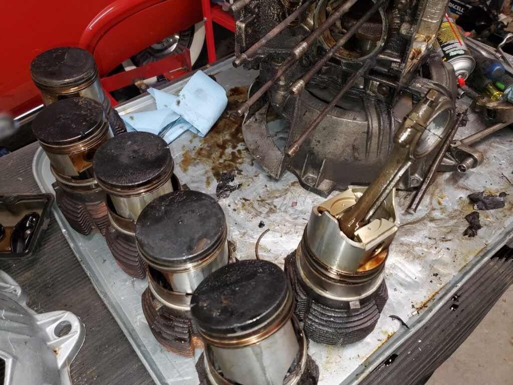 Sometimes I have to deliver bad news, like this shattered rings and ruined bores in this 1966 Corvair engine