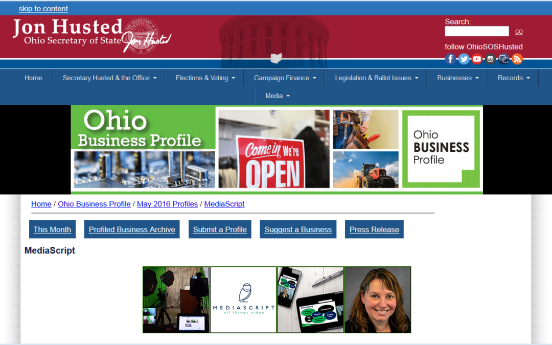Ohio Secretary of State Jon Husted features MediaScript for Women-Owned Business Month