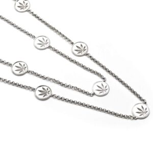 Sterling Silver Cannabis Leaf Necklace