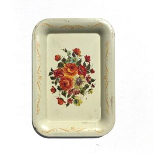 Small Cream Floral Rolling Tray – Vintage