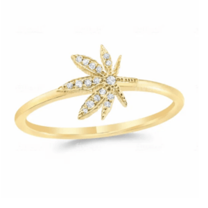 Cannabis Flower Pave Ring 14k Yellow Gold and .05 Carat Diamonds