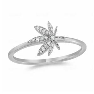 Cannabis Flower Pave Ring 14K White Gold and .05 Carat Diamonds