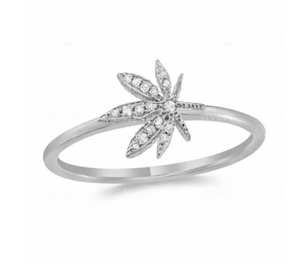 White Gold Cannabis Ring with Diamonds