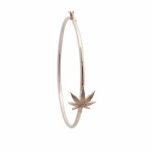 Gold Cannabis Hoop Earring With Center Diamond