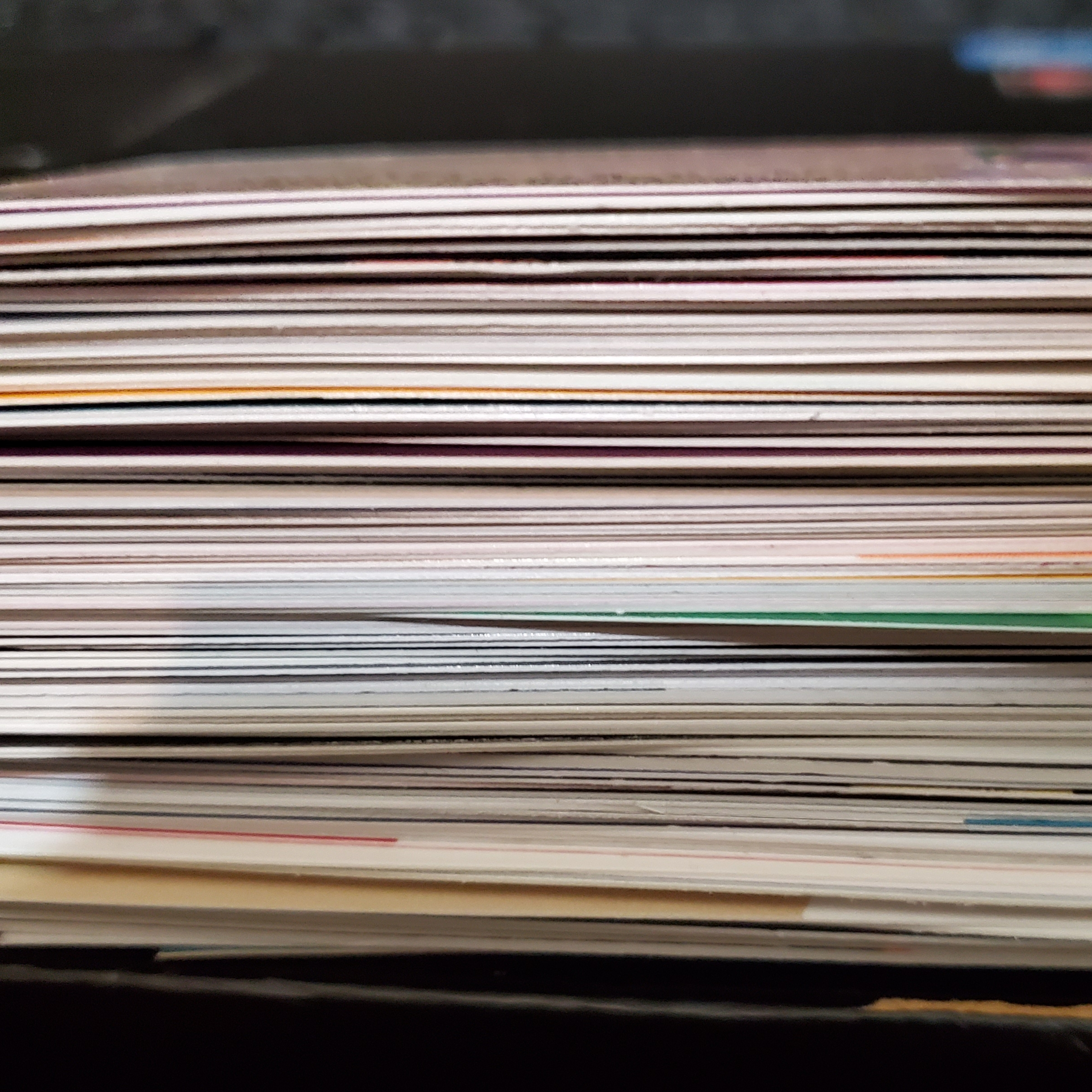 Stack of business cards on a desk