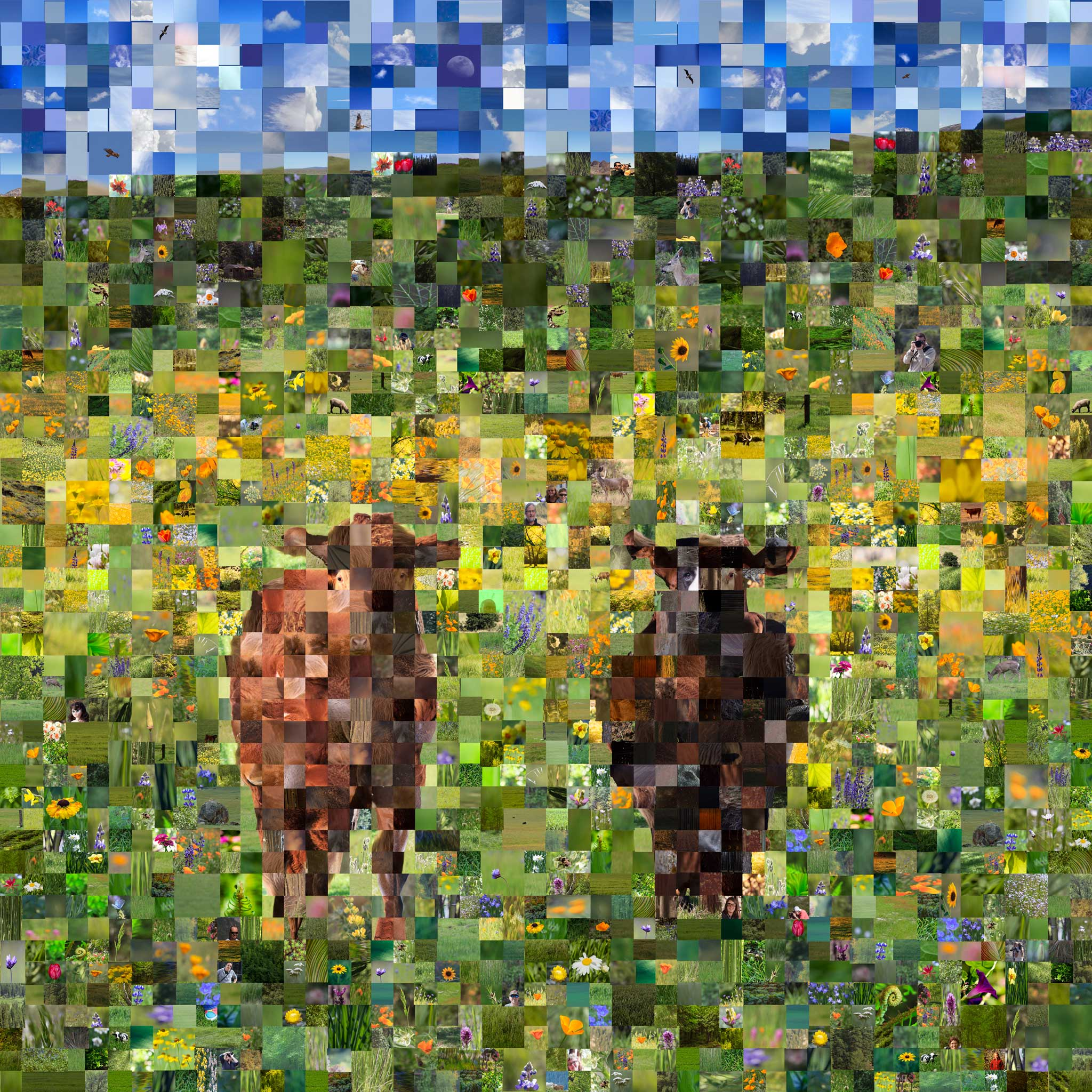 mosaic landscape with cows and flowers