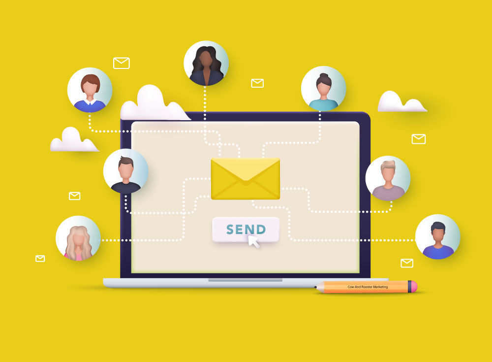 Illustration showing email marketing with a diverse group of people.