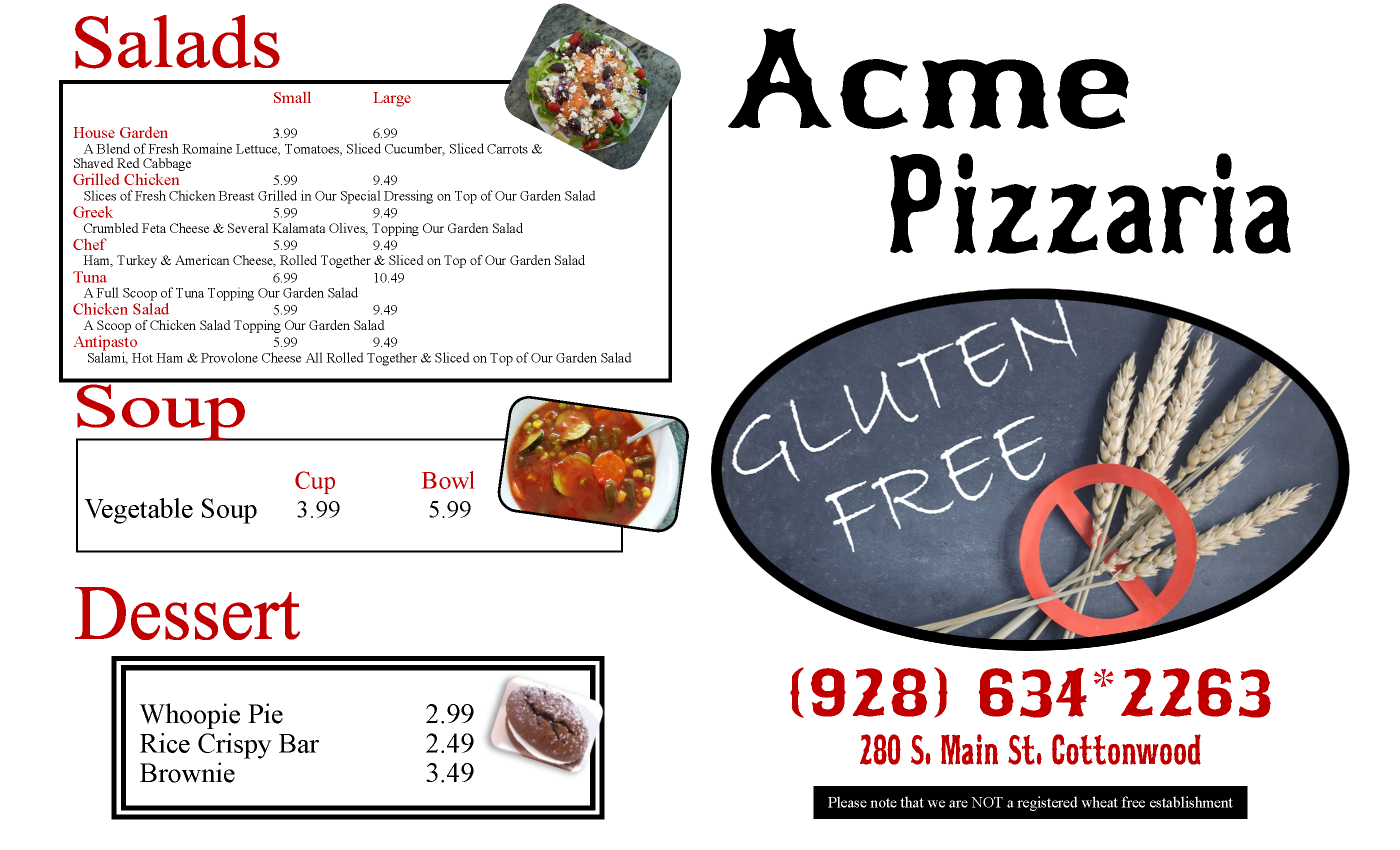 Gluten Free Menu 2020 Page 1