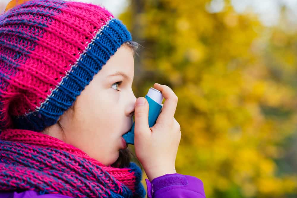 Girl,Using,Inhaler,On,An,Autumn,Day,-,To,Treat