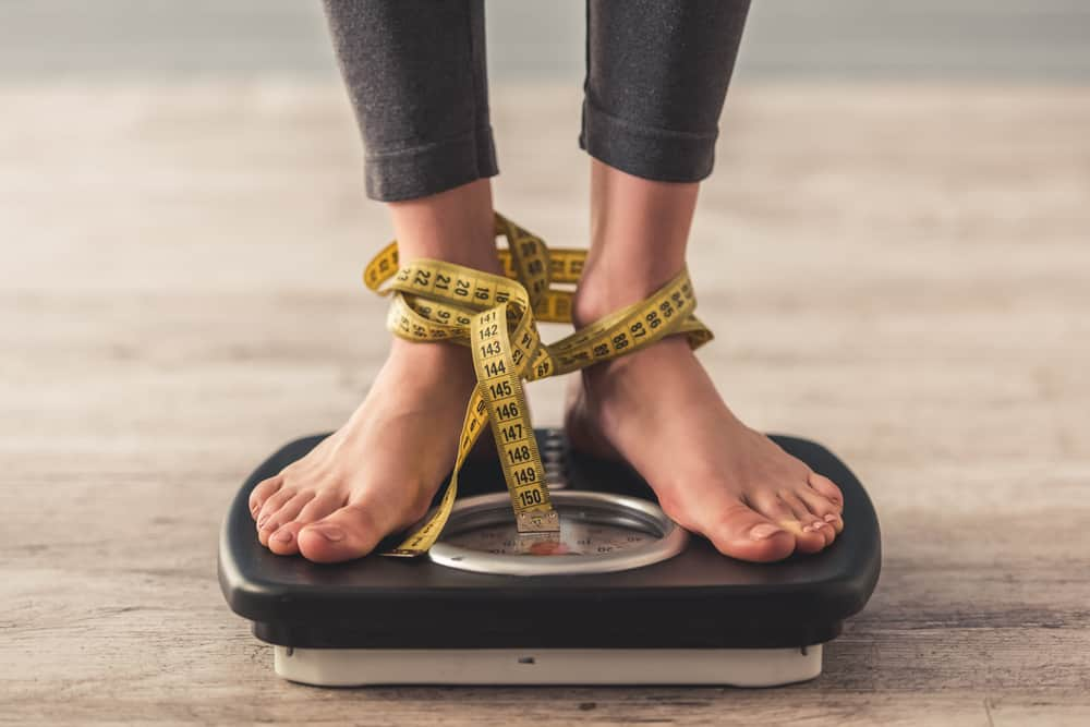 Cropped,Image,Of,Woman,Feet,Standing,On,Weigh,Scales,,On