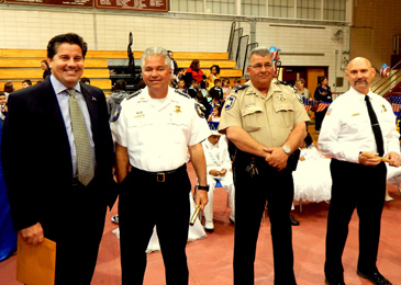 From left are Parish Council member Ray Lauga Jr.,, Sheriff James Pohlmann, Lt. Robert Broadhead and Assistant Fire Chief Glenn Ellis.