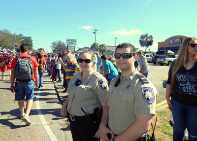 Lt. Joshua Correa and Sgt. Shannon Cooper were among numerous sheriff's deputies who worked the parade route.