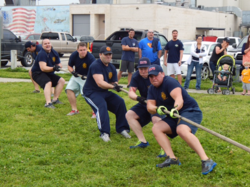 The winning Fire Department team in the tug-of-war challenge with the Sheriff's Office. Members included Mike Wolfe, Justin Sager, Josh Wolfe, Todd Michel, Aaron Sallean and Devin Murphy.