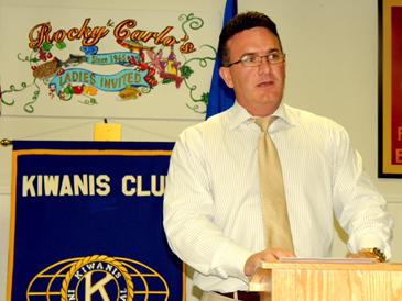 District Attorney Perry Nicosia speaks to the Kiwanis Club of St. Bernard.