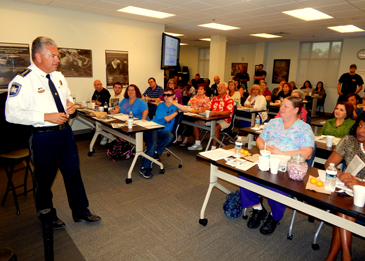 Sheriff James pohlmann speaks to opening night class of Citizens Police Academy.