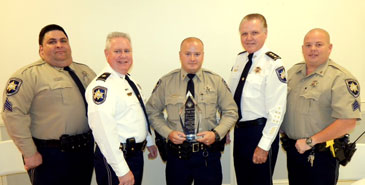Representing the Sheriff's Office at the Knights of Columbus event were, from left, Sgt. Corey Beebe, Maj. Adolph Kreger, Deputy of the Year Dustin Gould, Chief Deputy Sheriff Richard Baumy and Sgt. Barry Johnson.