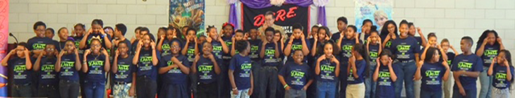 Students at Willie Smith perform the D.A.R.E. theme song.