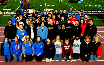 Volunteers taking part in the Special Olympics several years ago  from businesses and other groups, including Sheriff James Pohlmann and Maj. Chad Clark of the Sheriff's Office, are shown before the event started,