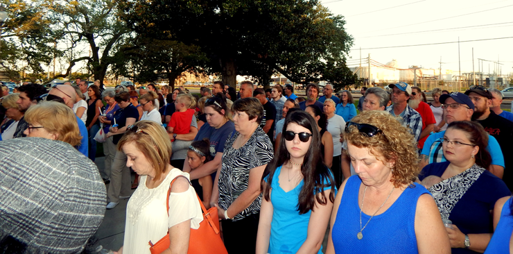 Some of the hundreds of people who gathered for the vigil.
