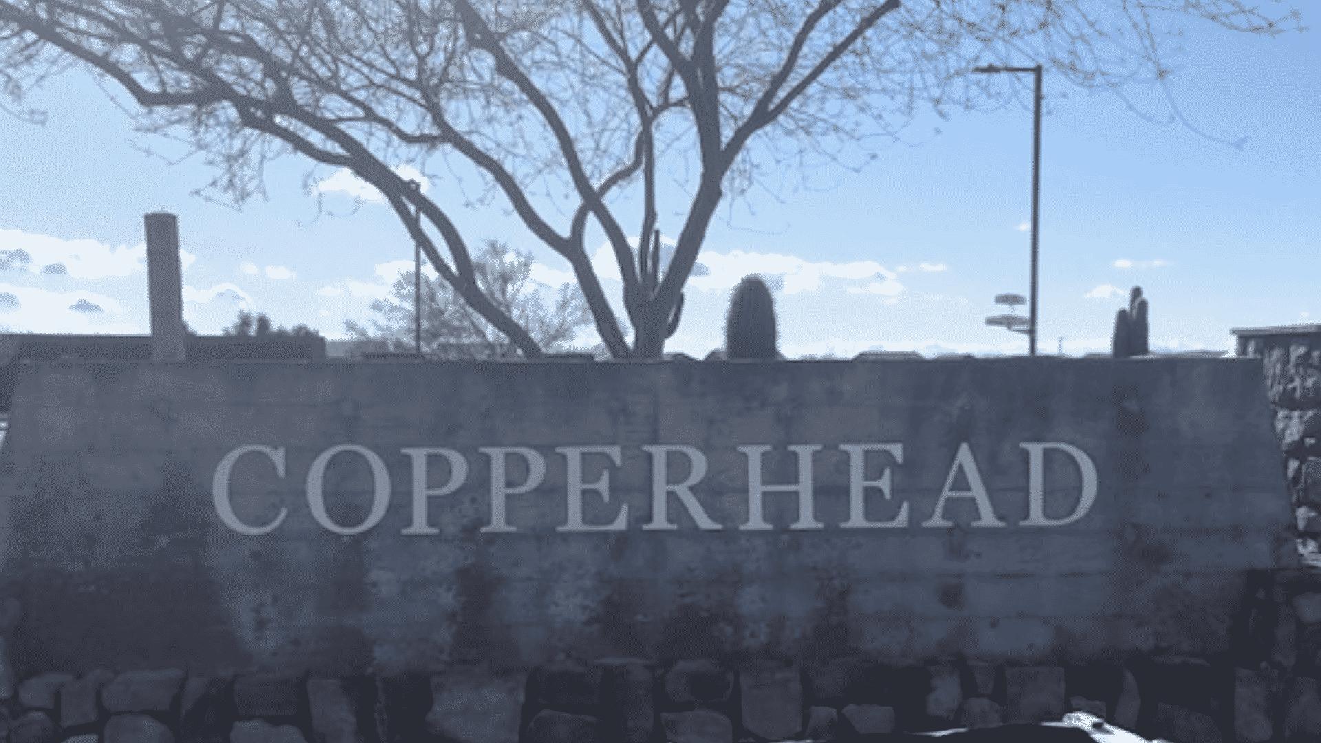Copper Basin entrance sign for homes Fireside Norterra