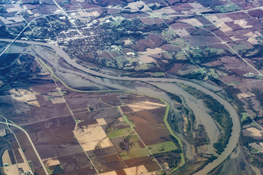 Flood plain along the Missouri River at Nebraska City, Nebraska, USA.