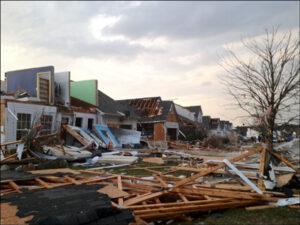 storm damaged neighborhood