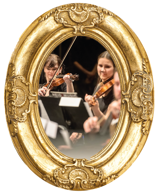 Orchestra performers playing in gold frame