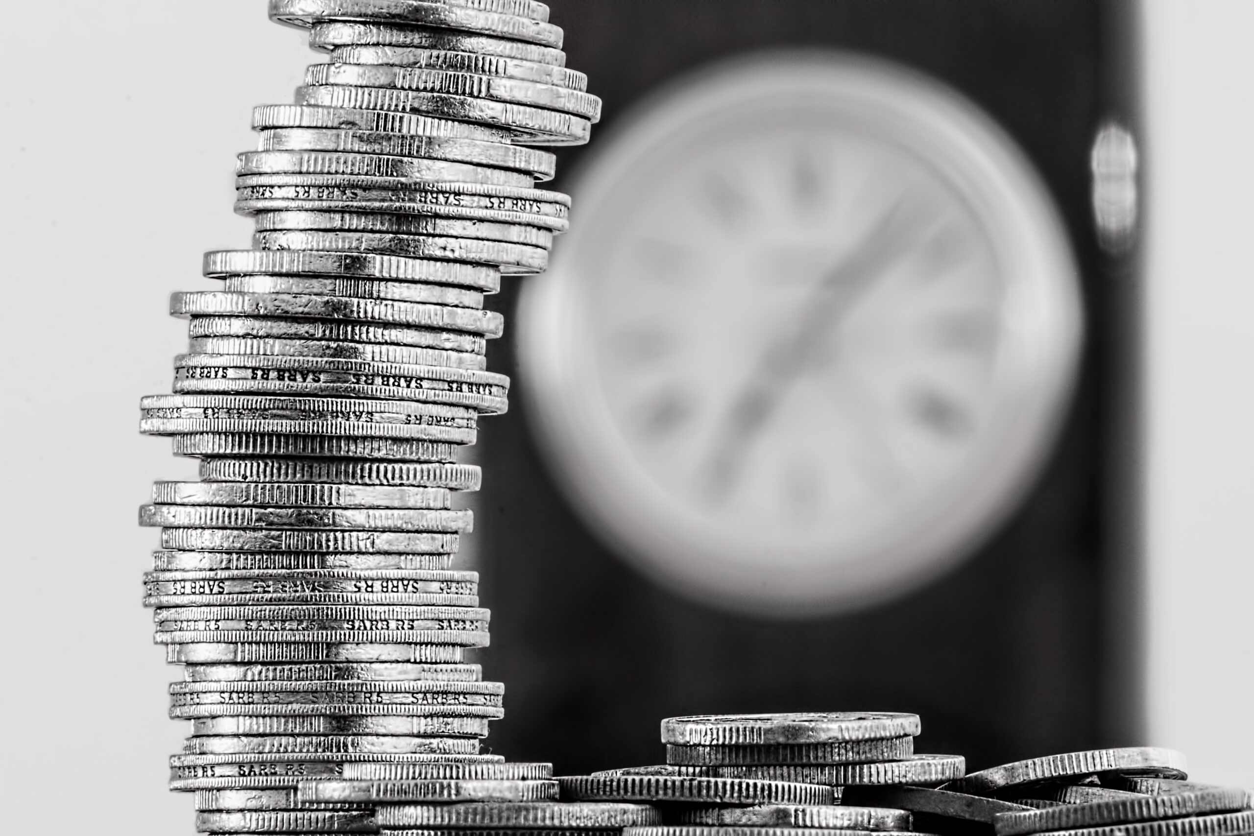 Coins and Clock_B&W